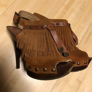 Brown fringe heels size 6